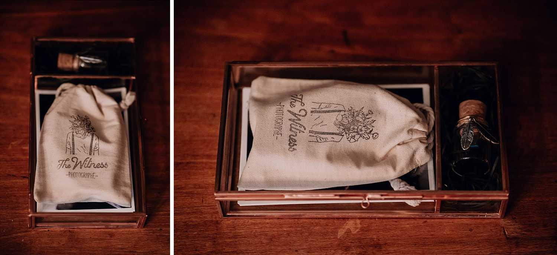 écrin avec clé USB, le coffret packaging mariage The Witness photographe