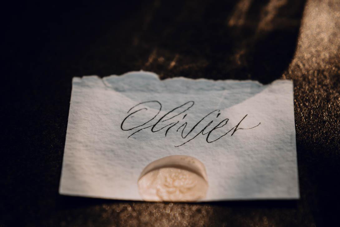 papeterie nom d'un invité du mariage, ici Olivier