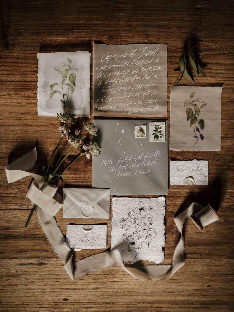 papeterie mariage végétal et brute par Silent Word Studio