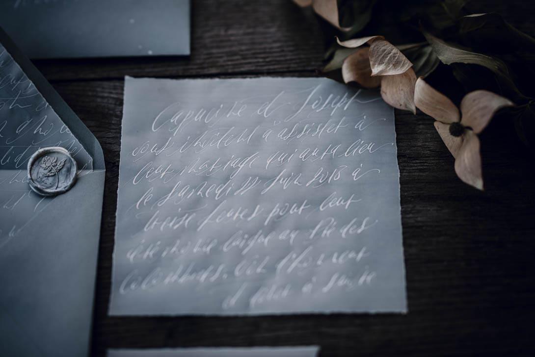 papeterie mariage, lettre en transparence sur papier calque, silentwordstudio.com