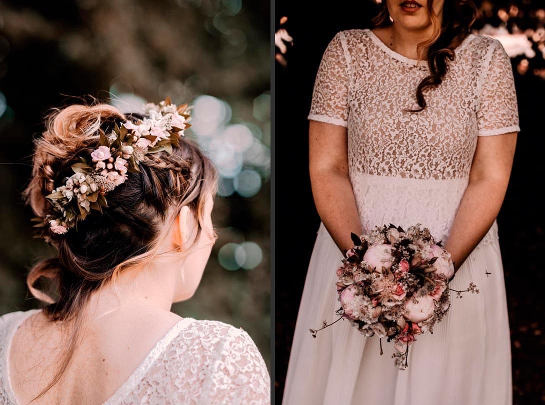 photo de la mariée avec son bouquet de fleur et couronne de fleur de dos