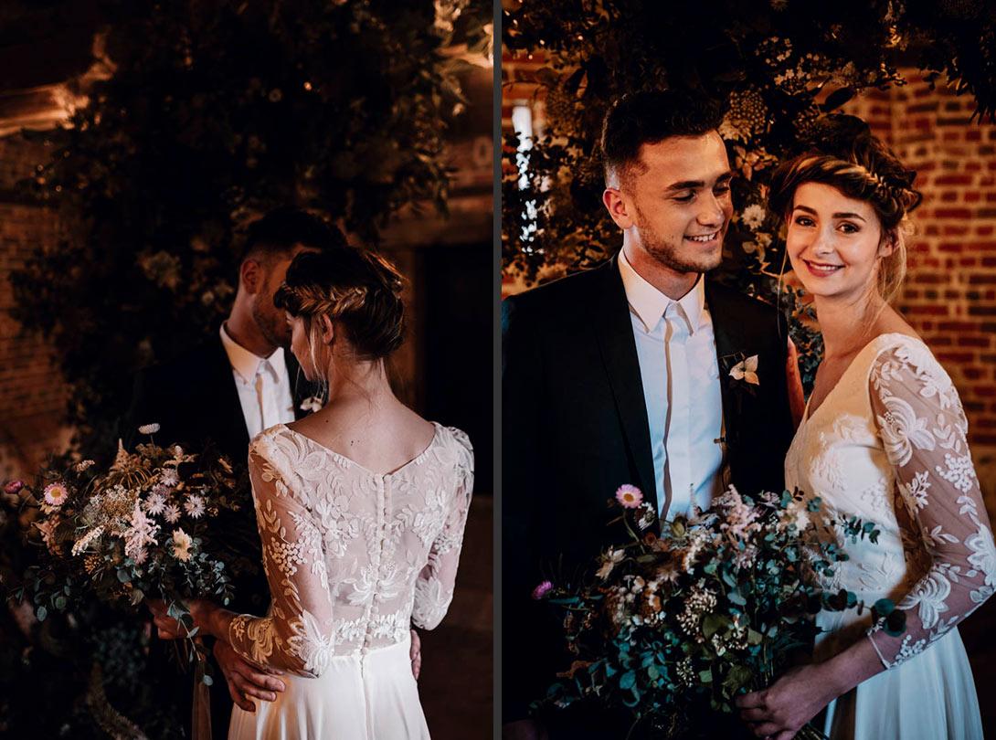 portraits des mariés pendant la cérémonie laïque et végétale