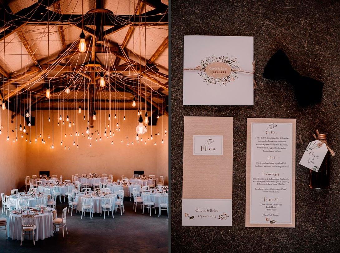 papeterie et cadeau d'invités du mariage et salle de la ferme d'armenon
