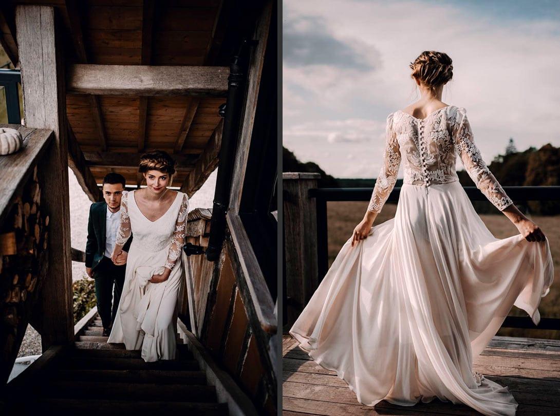 séance photographe du mariage en Normandie en petit comité sur la terrasse du pré des colombiers