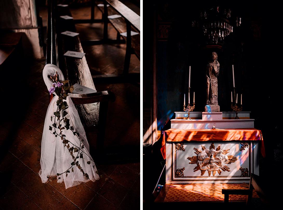 détail de la lumière de la cérémonie du mariage et de la décoration de l'église