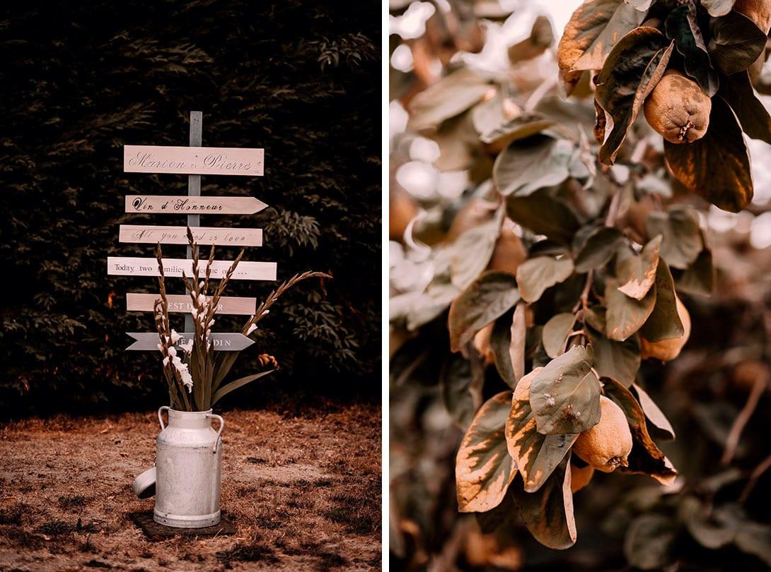 panneaux indicatifs en bois pour le mariage