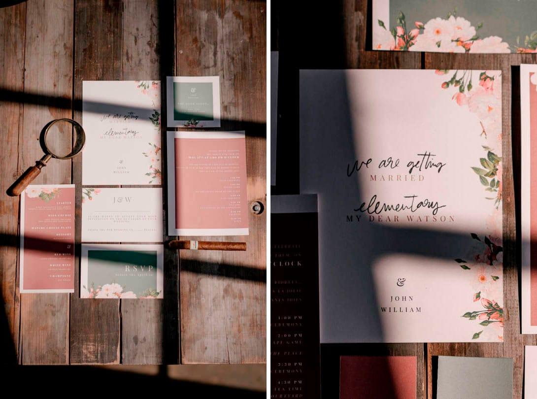 papeterie mariage elementary les bandits events, sur table en bois vintage aux Bonnes Joies