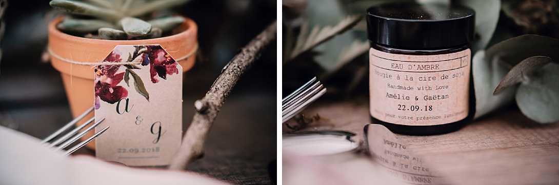 cadeaux d'invité : succulente dans pot en terre et bougie à la cire de soja