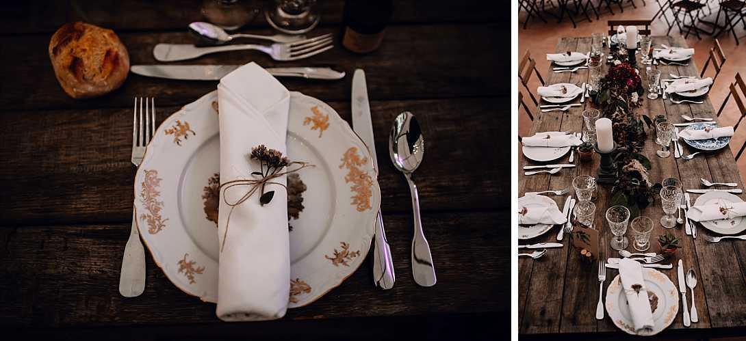 table rectangle avec assiettes vintages