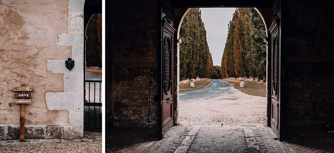 entrée château de Bonnemare avec panneaux de bois indicatifs