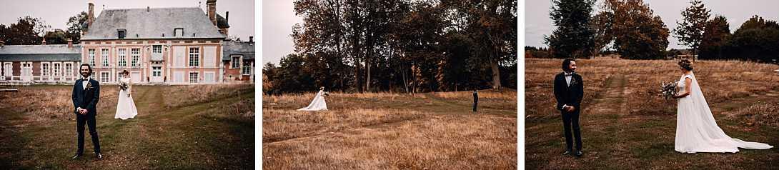 permier regard, découverte des mariés en automne au château de bonnemare