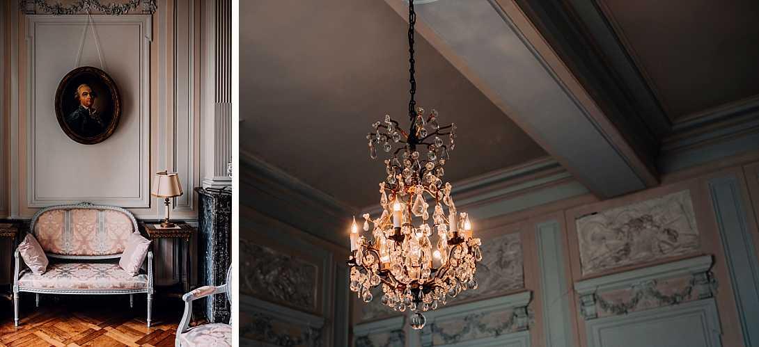 intérieurs du château de bonnemare, mobilier, lustre et peintures