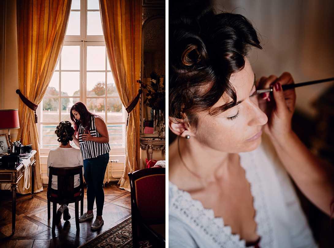 maquillage de la mariée dans le château de Bonnemare