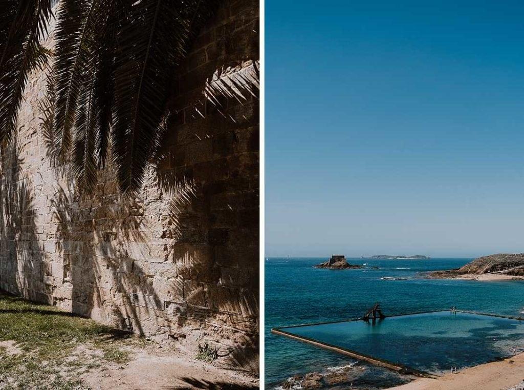 Saint-Malo vu sur la piscine de mer et sur un palmier. Parfait pour des photos de mariages ou de couple