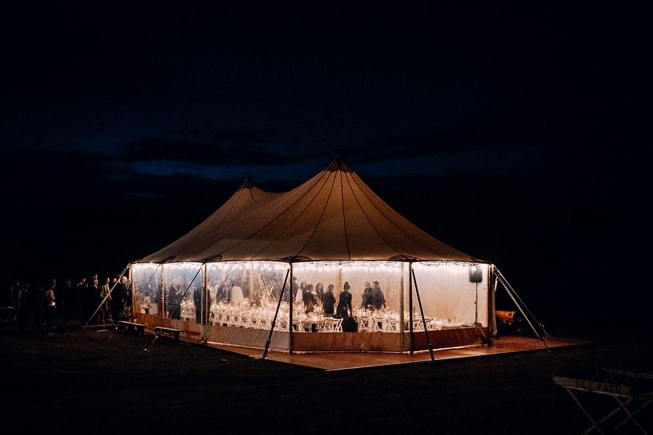 tente silhouette, mariage de nuit